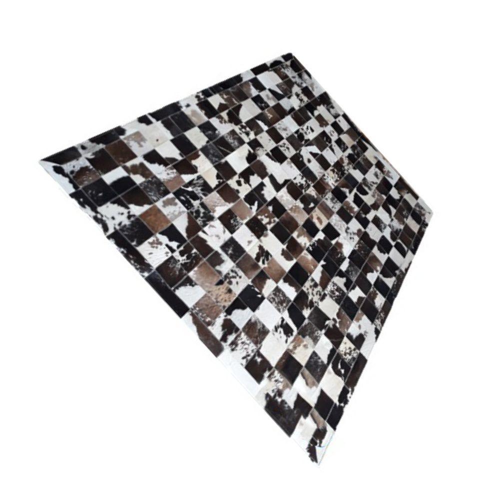 Tapete de Couro de Boi 2m X 1,5m Natural Costurado 10cm x 10cm Com Borda - OF12