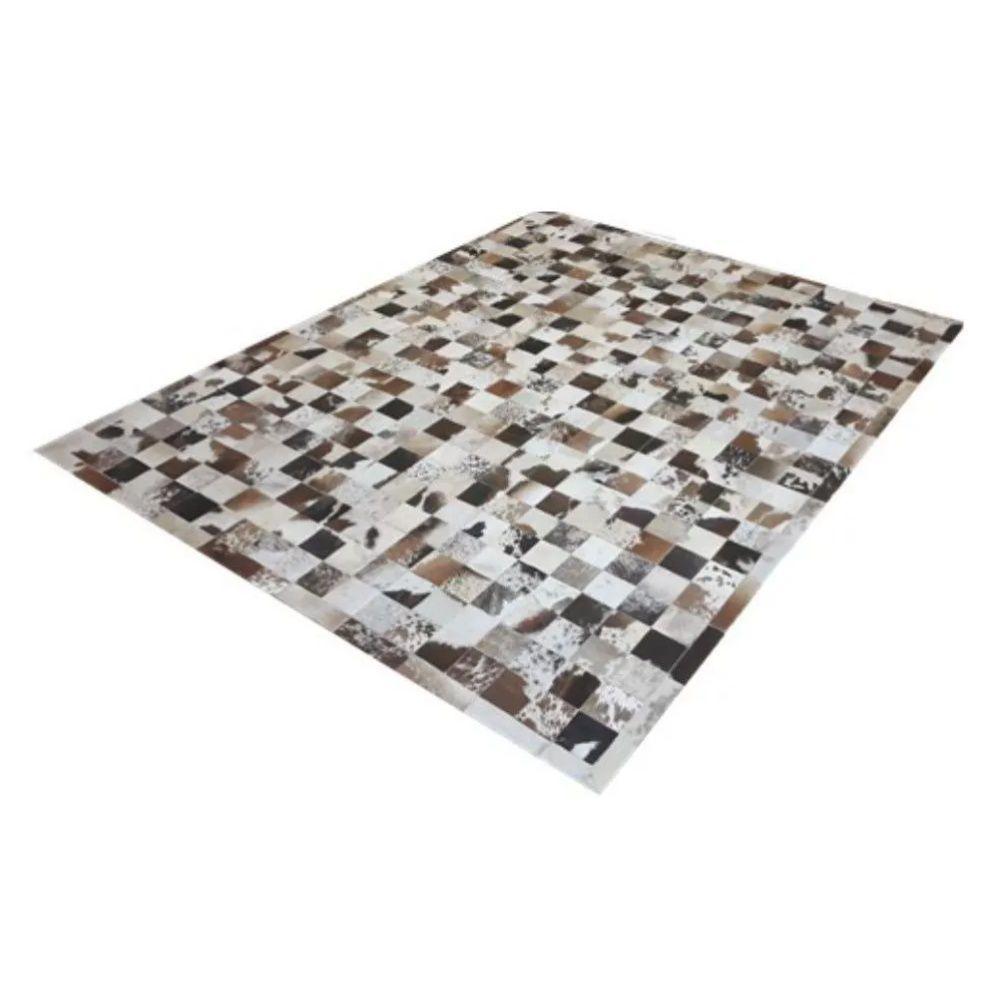 Tapete de Couro de Boi 2m X 1,5m Natural Costurado 10cm x 10cm Com Borda - OF29