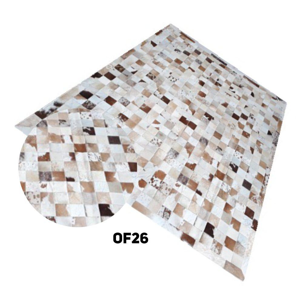 Tapete de Couro de Boi 2m X 1,5m Natural Costurado 10cm X 10cm - Pronta Entrega
