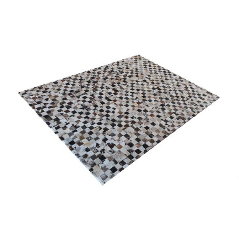 Tapete de Couro de Boi 2m X 1,5m Natural Costurado 5cm x 5cm Com Borda - OF03