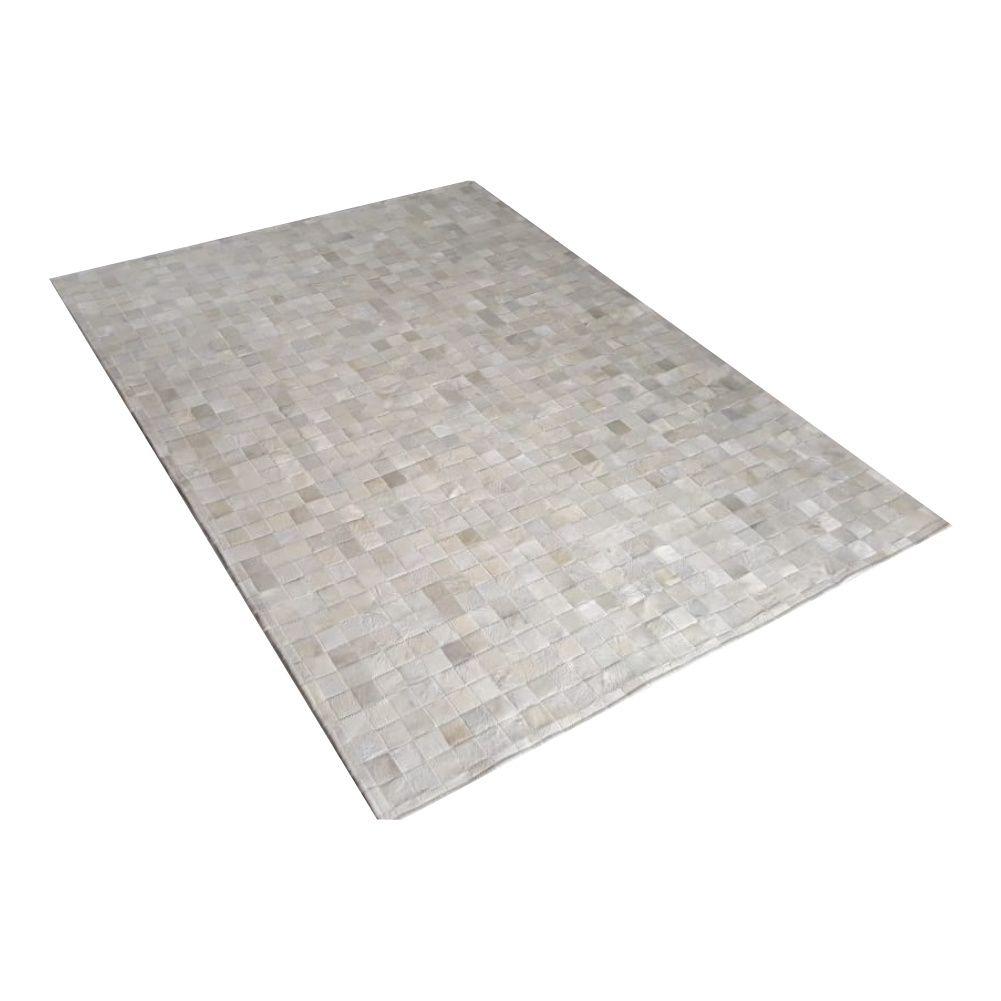 Tapete de Couro de Boi 2m X 1,5m Natural Costurado 5cm x 5cm Com Borda - OF09