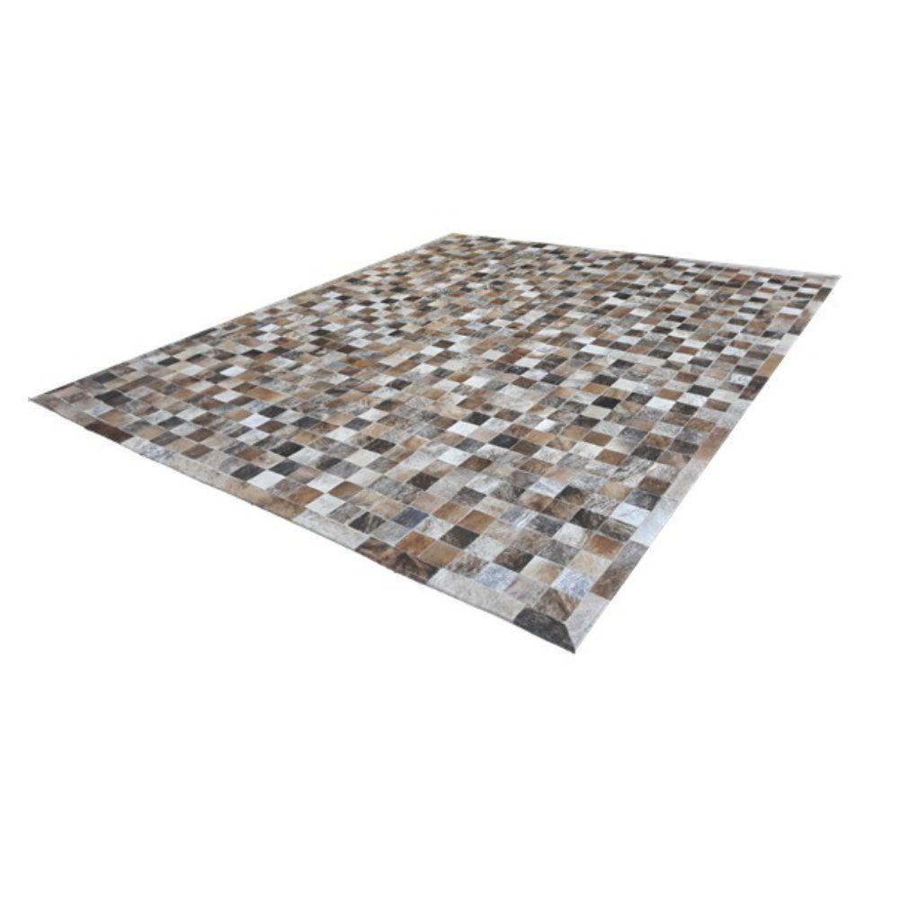 Tapete de Couro de Boi 2m X 1,5m Natural Costurado 7cm x 7cm Com Borda - OF25