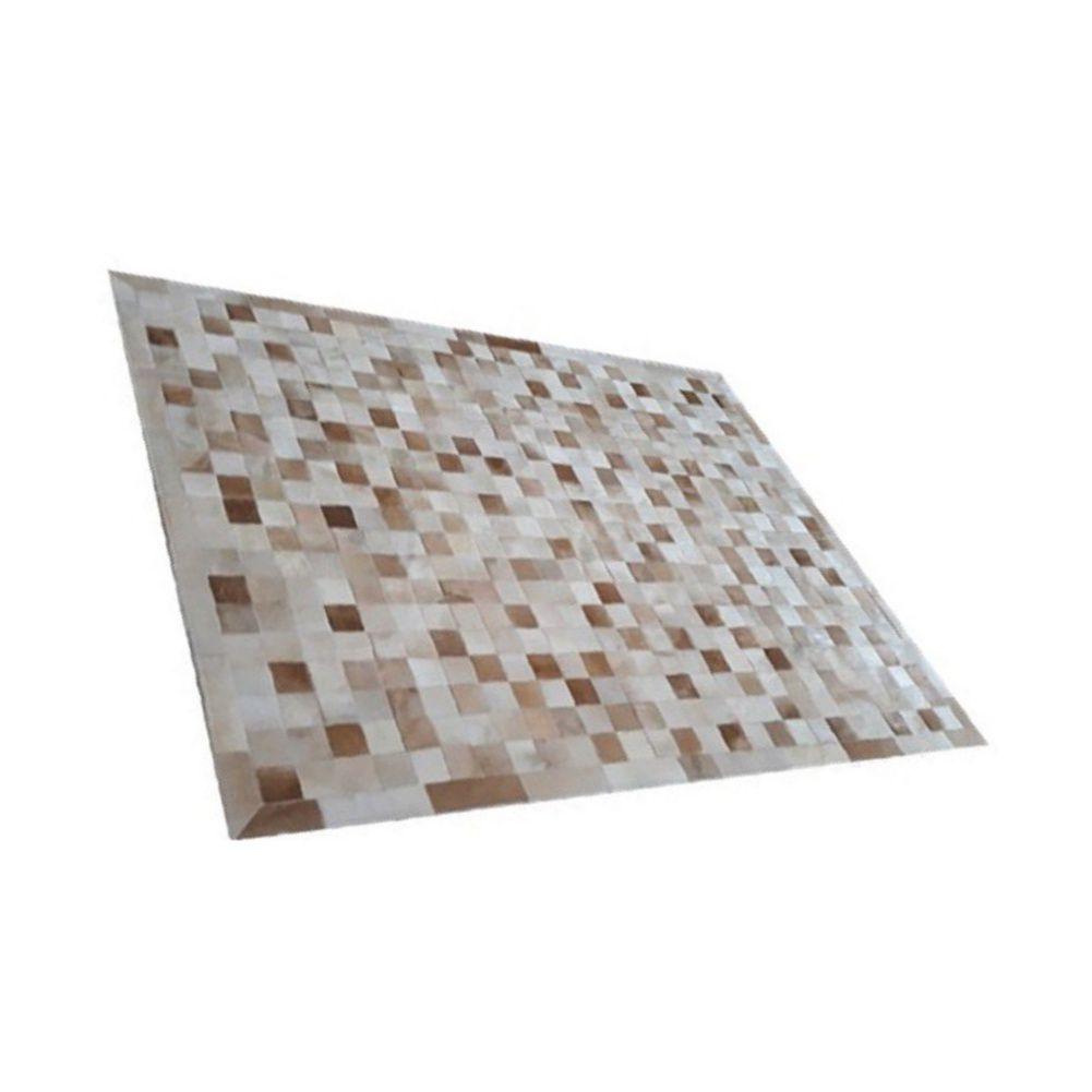 Tapete de Couro de Boi 2m X 1,5m Natural Costurado 7cm x 7cm Com Borda - OF35