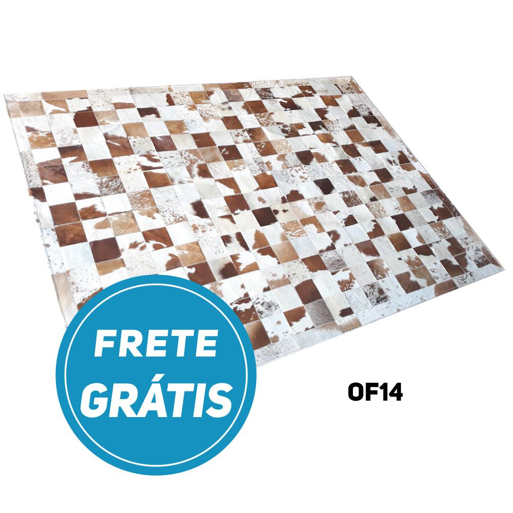 Tapete de Couro de Boi 2m X 1,5m Natural Costurado Placas 10cm x 10cm Com Borda - OF14