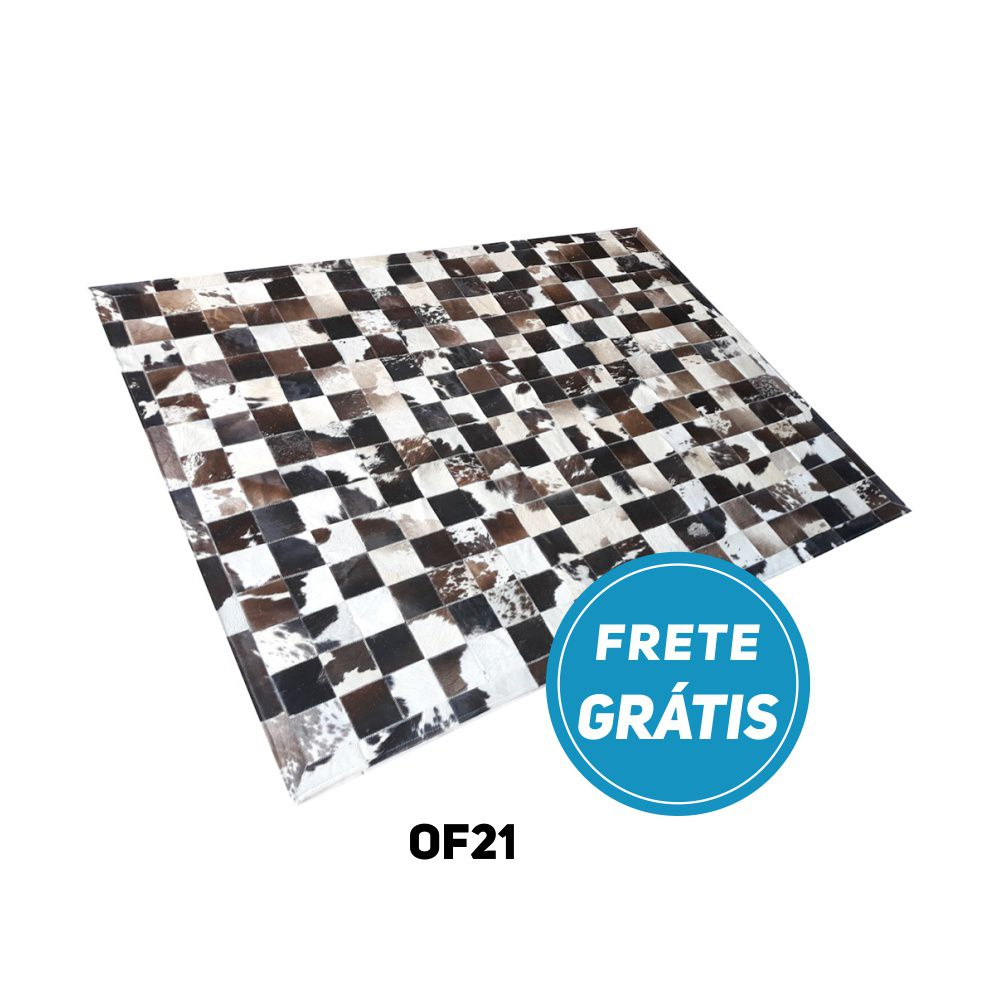 Tapete de Couro de Boi 2m X 1,5m Natural Costurado Placas 10cm x 10cm Com Borda - OF21