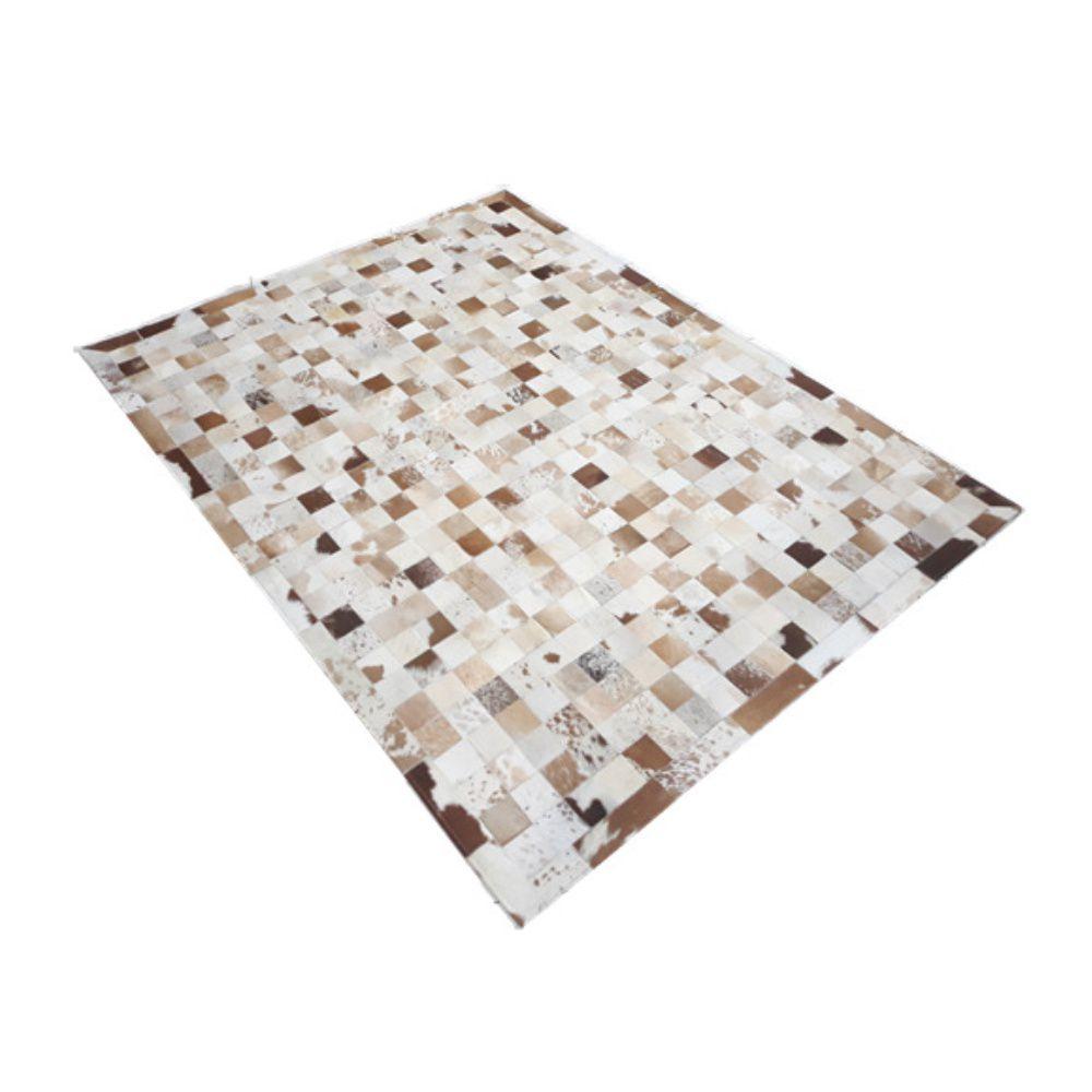 Tapete de Couro de Boi 2m X 1,5m Natural Costurado Placas 7cm x 7cm Com Borda - OF01