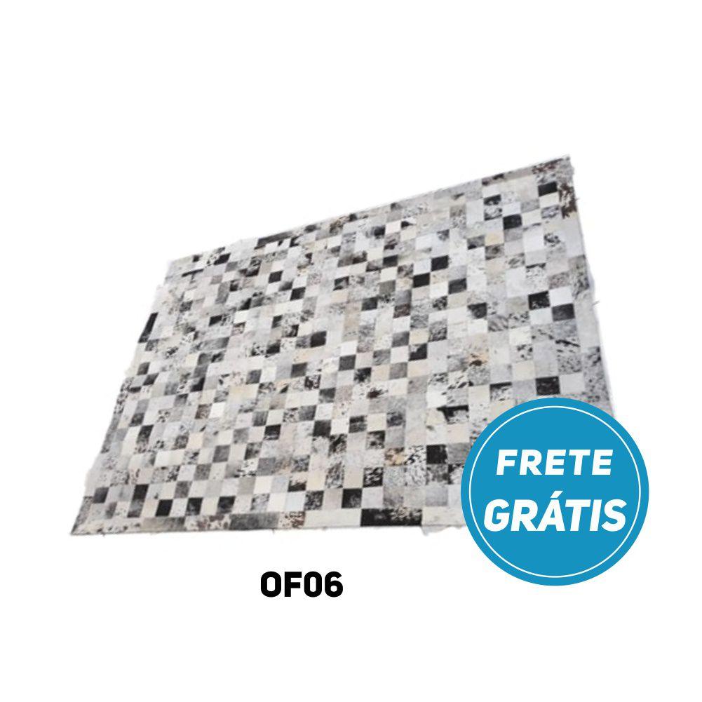 Tapete de Couro de Boi 2m X 1,5m Natural Costurado Placas 7cm x 7cm Com Borda - OF06