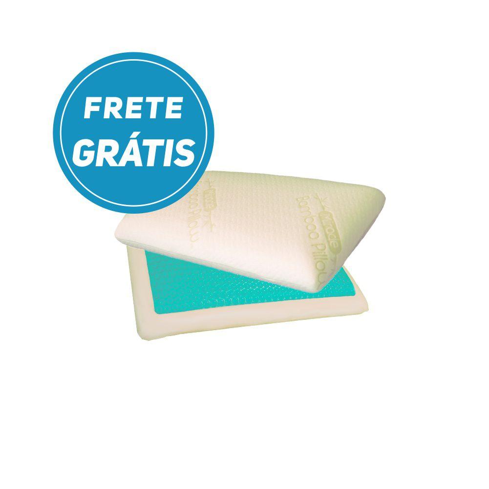 Travesseiro Nasa Original Gel Refrescante Espuma Viscoelástica acompanha capa ecológica de fibra de bambu COM FRETE GRATIS