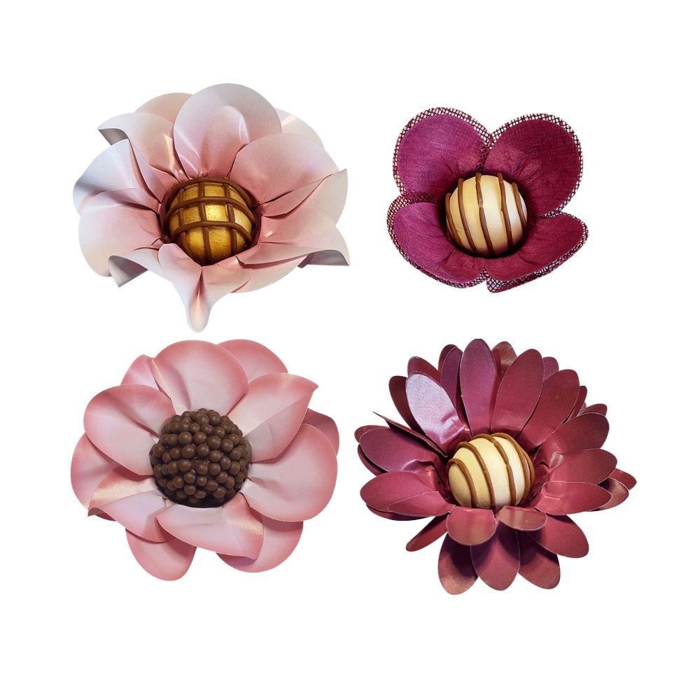 100 Forminhas Para Doces Margarida e Peônia em Papel e Tulipa em tecido