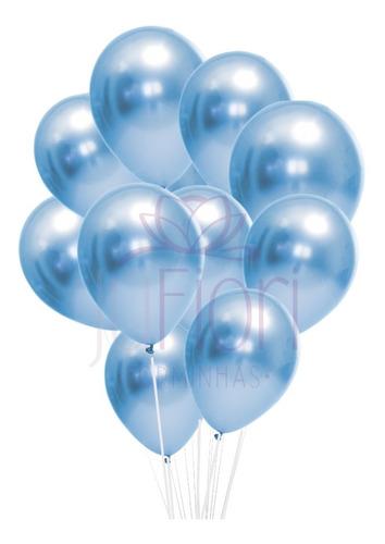 Balão Bexiga Metalizado Azul Cromado 25 Unidades N9