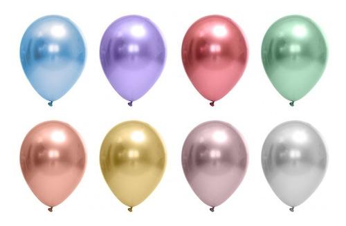 Balão Bexiga Metalizado Cromado 25 Unidades N9