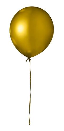 Balão Bexiga Metalizado Dourado Cromado 25 Unidades N9