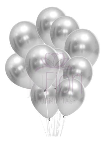 Balão Bexiga Metalizado Prata Cromado 25 Unidades N9