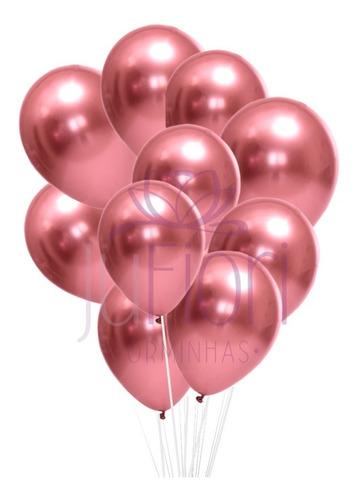 Balão Bexiga Metalizado Rosa Cromado 25 Unidades N9
