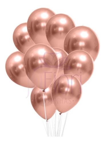 Balão Bexiga Metalizado Rose Gold Cromado 25 Unidades N9