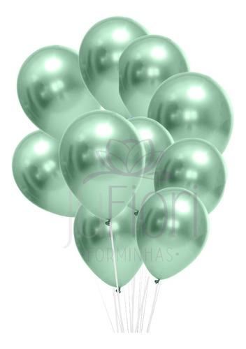 Balão Bexiga Metalizado Verde Cromado 25 Unidades N9