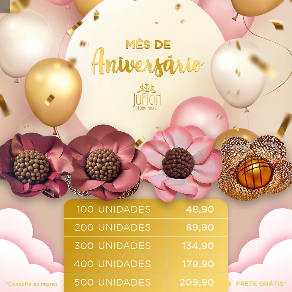 Forminhas Doces 100 Unidades Safira Margarida Papoula Real e Cestinha Aniversário Ju fiori