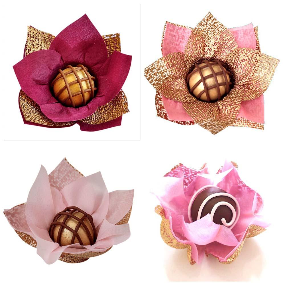 Forminhas para Doces em Tecido 300 Unidades Rosa Nobre Flor de Lotus Acalenta Jasmim
