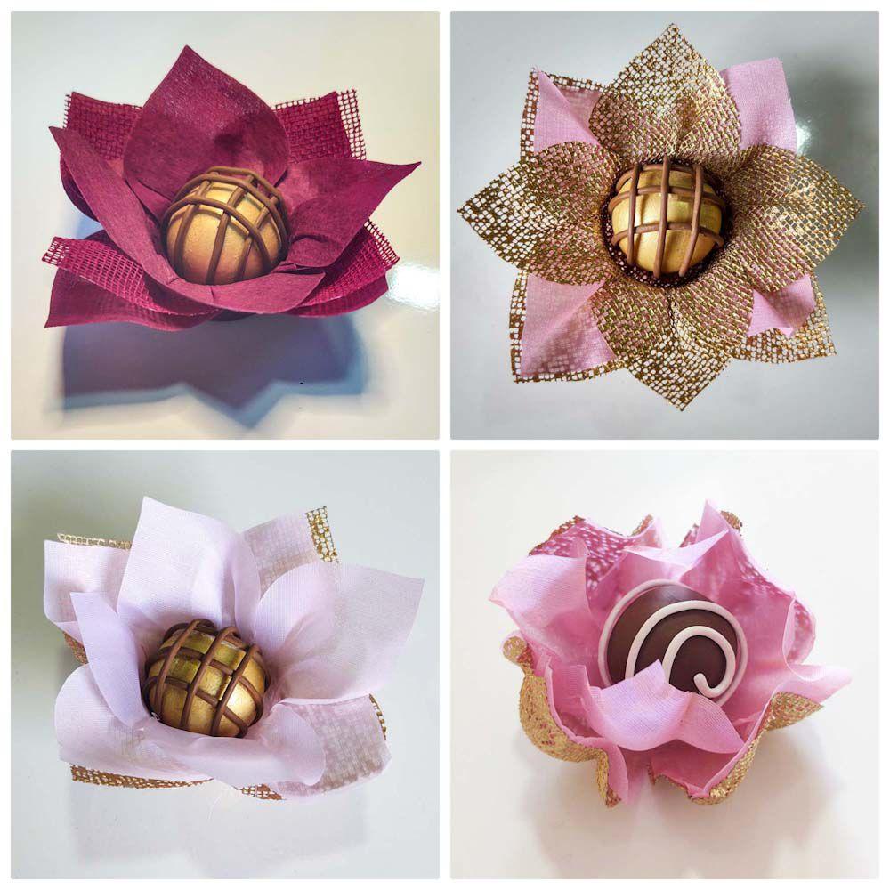 Forminhas para Doces Finos 500 Unidades Lotus Rosa Nobre Acalenta e Jasmim Em Tecido