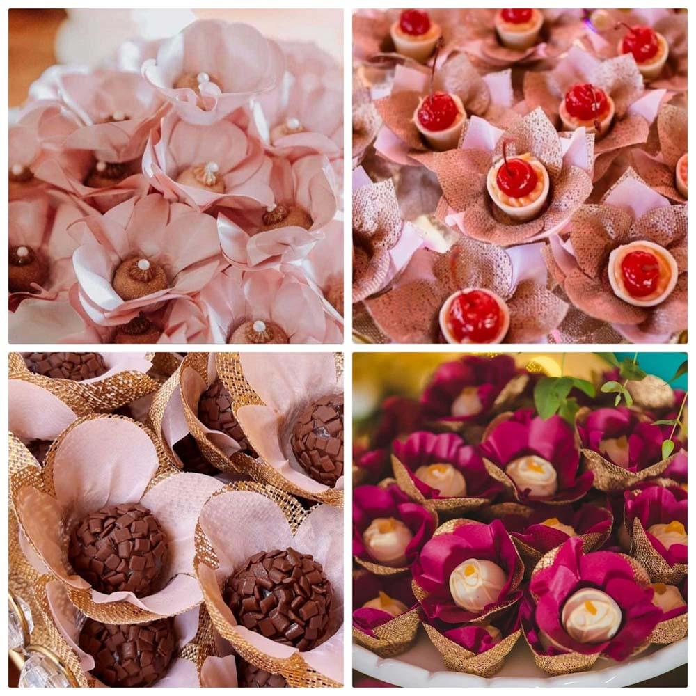 Forminhas para Doces Finos Kit 1000 Unidades Tulipa Margarida Papoula e Rosa Nobre em Tela Escócia