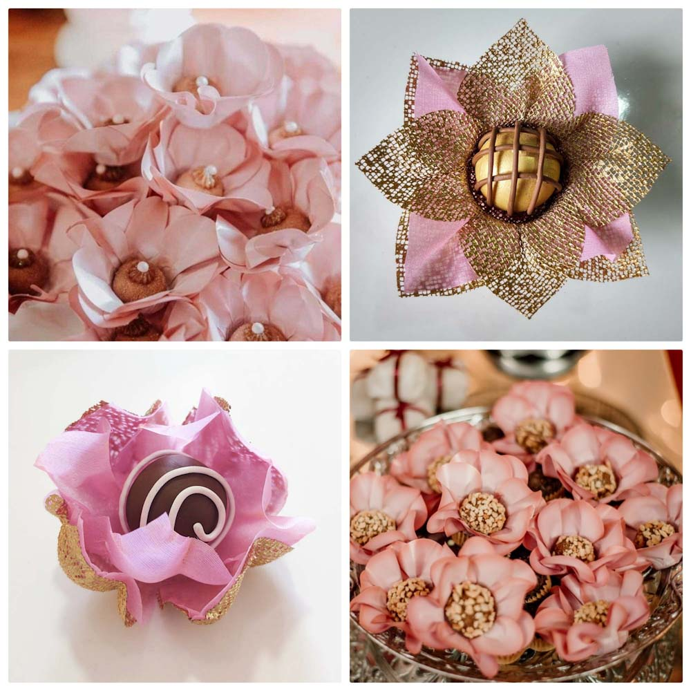 Forminhas para Doces Finos Kit 200 Unidades Margaridas Flor de Lotus e Rosa Nobre em Tela e Tecido