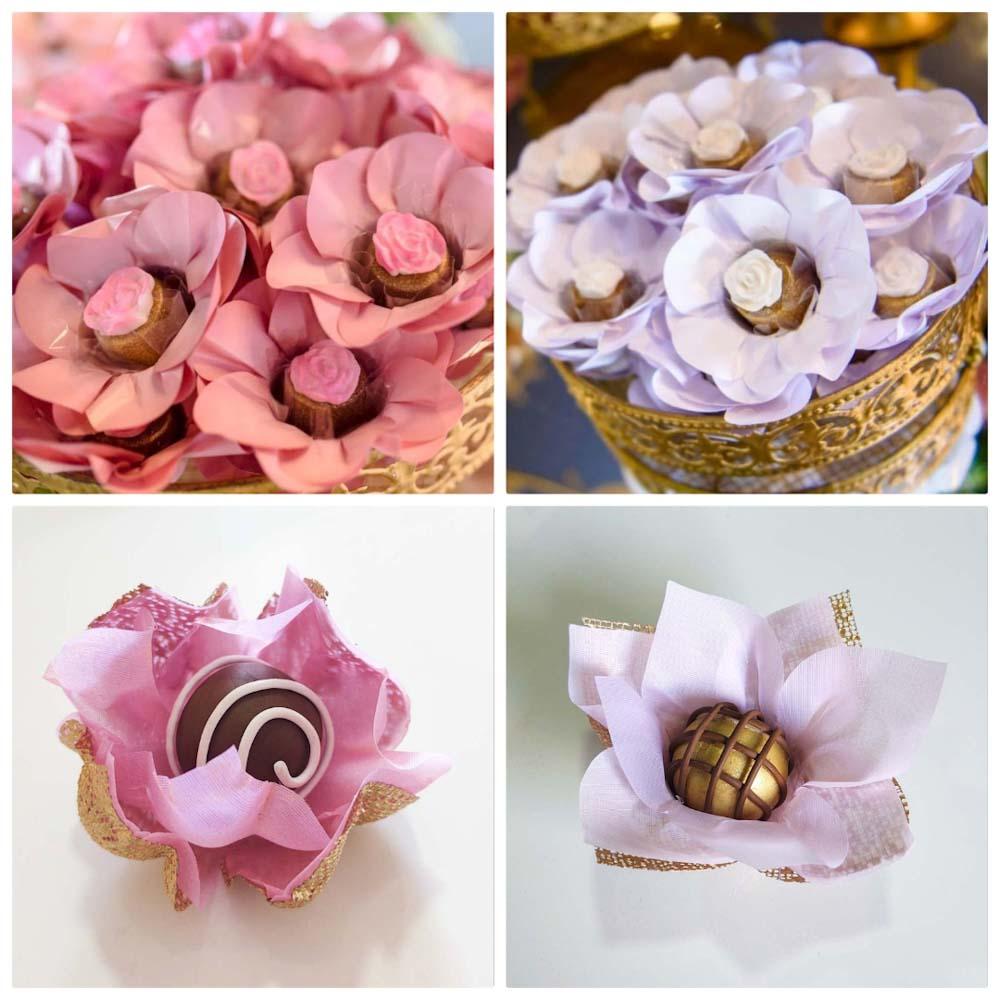 Forminhas para Doces Finos Kit 200 Unidades Margaridas Flor de Lotus e Acalenta em Tela e Tecido