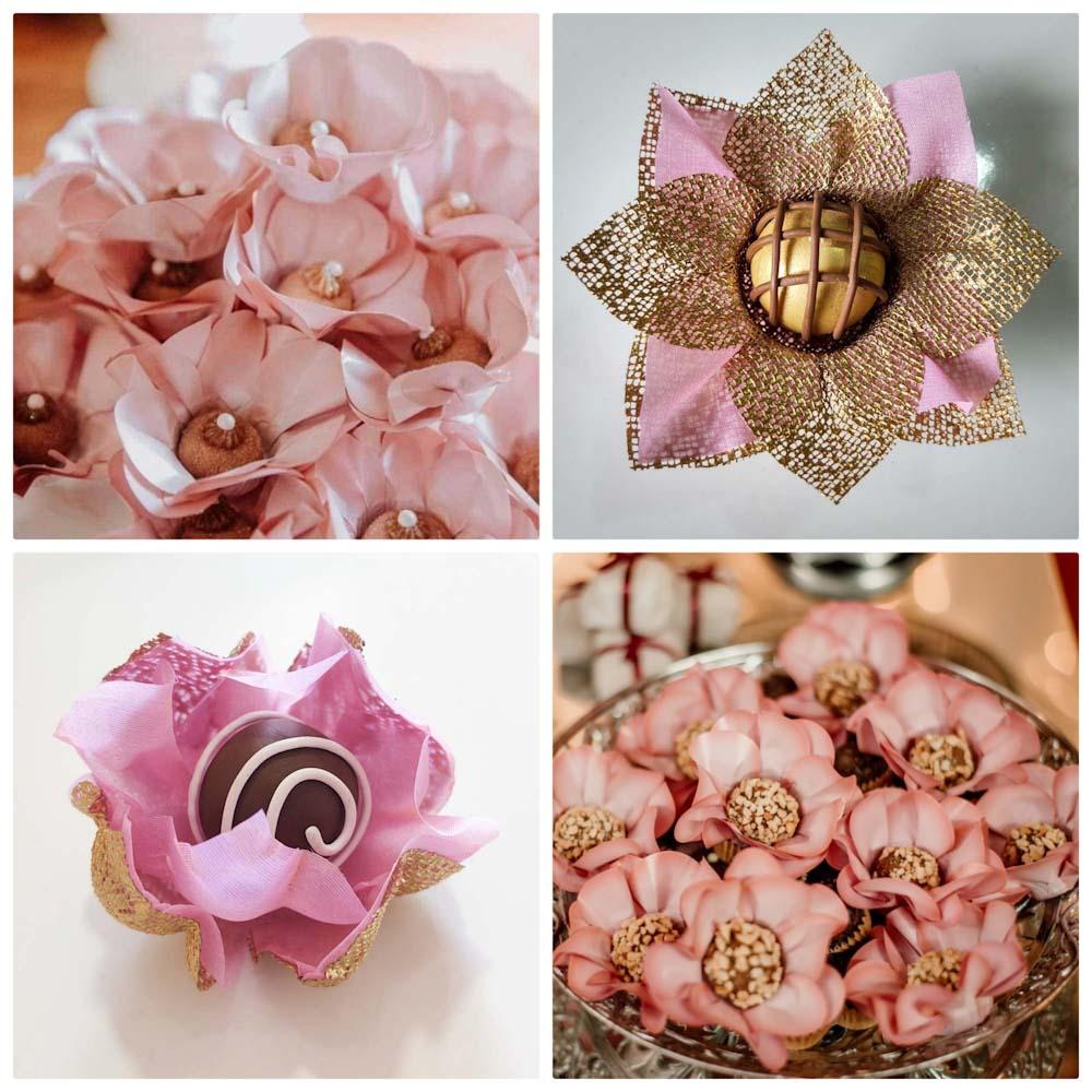 Forminhas para Doces Finos Kit 300 Unidades Rosa Nobre Flor de Lotus e Margarida