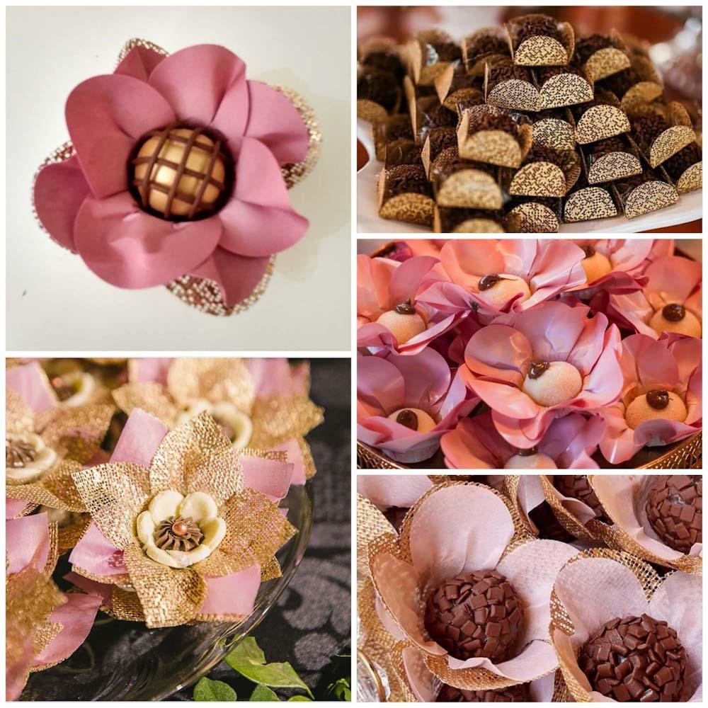 Forminhas para Doces Finos Kit 700 Unidades Tulipa Margarida Papoula Real Rosa Nobre e Caixeta em Tela Escócia