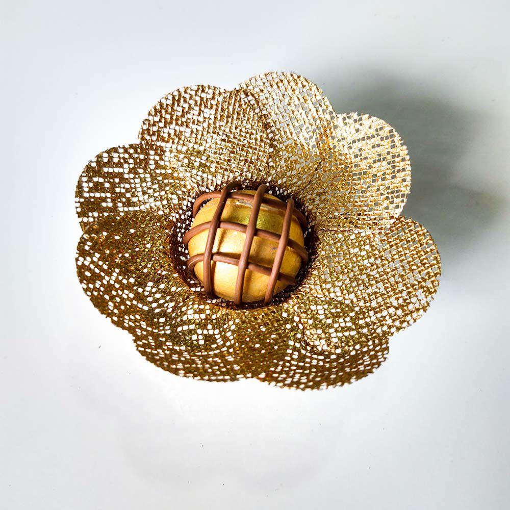 Forminhas para Doces Finos Modelo Flor Unica em Tela Escócia 25 unidades