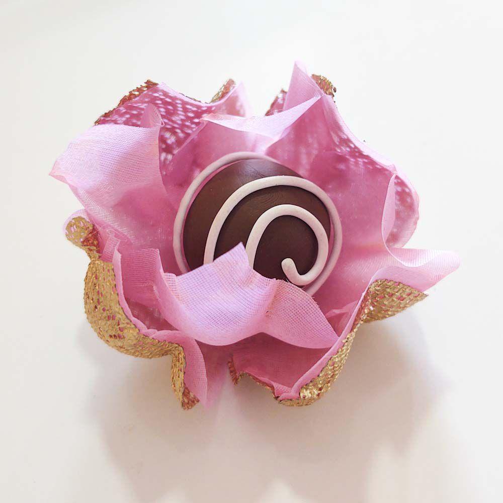 Forminhas para Doces Flor de Lotus Em Tela Escócia e Tecido Kit 50 Unidades