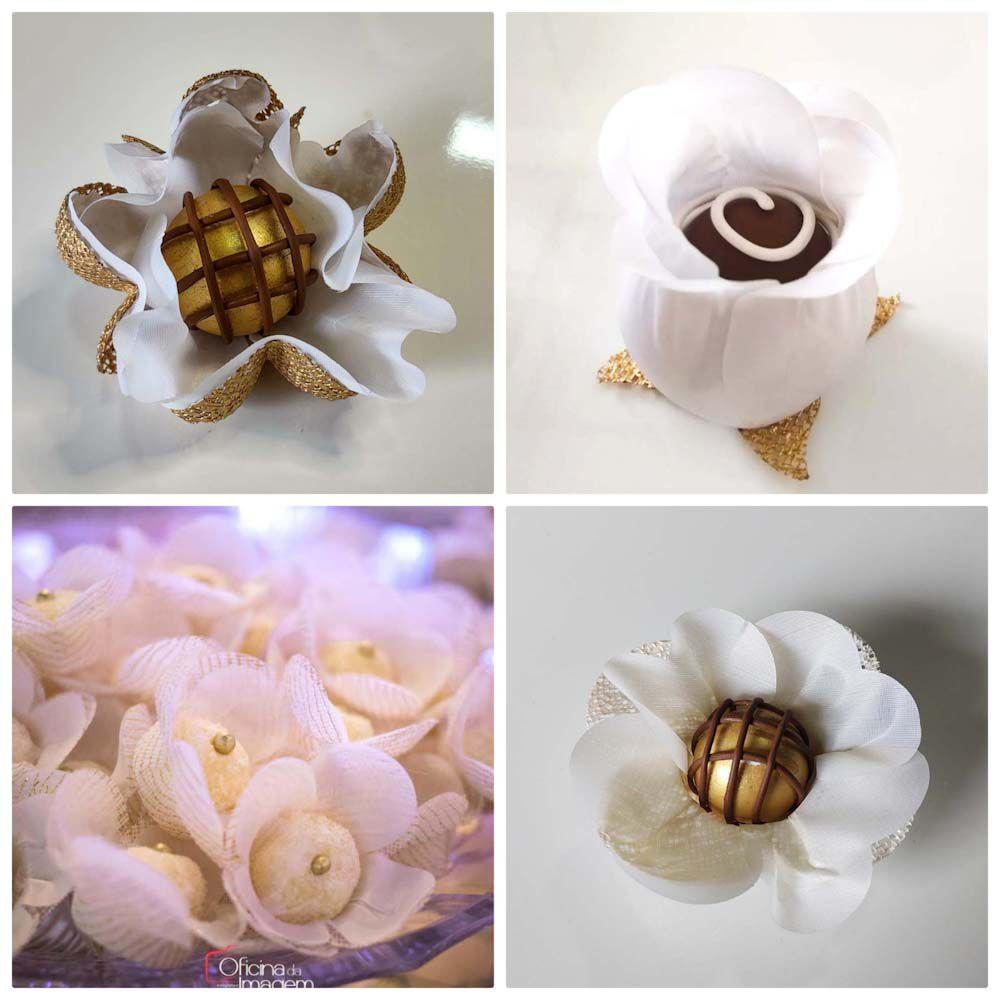 Forminhas para Doces Gerbera Papoula Tulipa Botão em Tecido Kit 100 Unidades