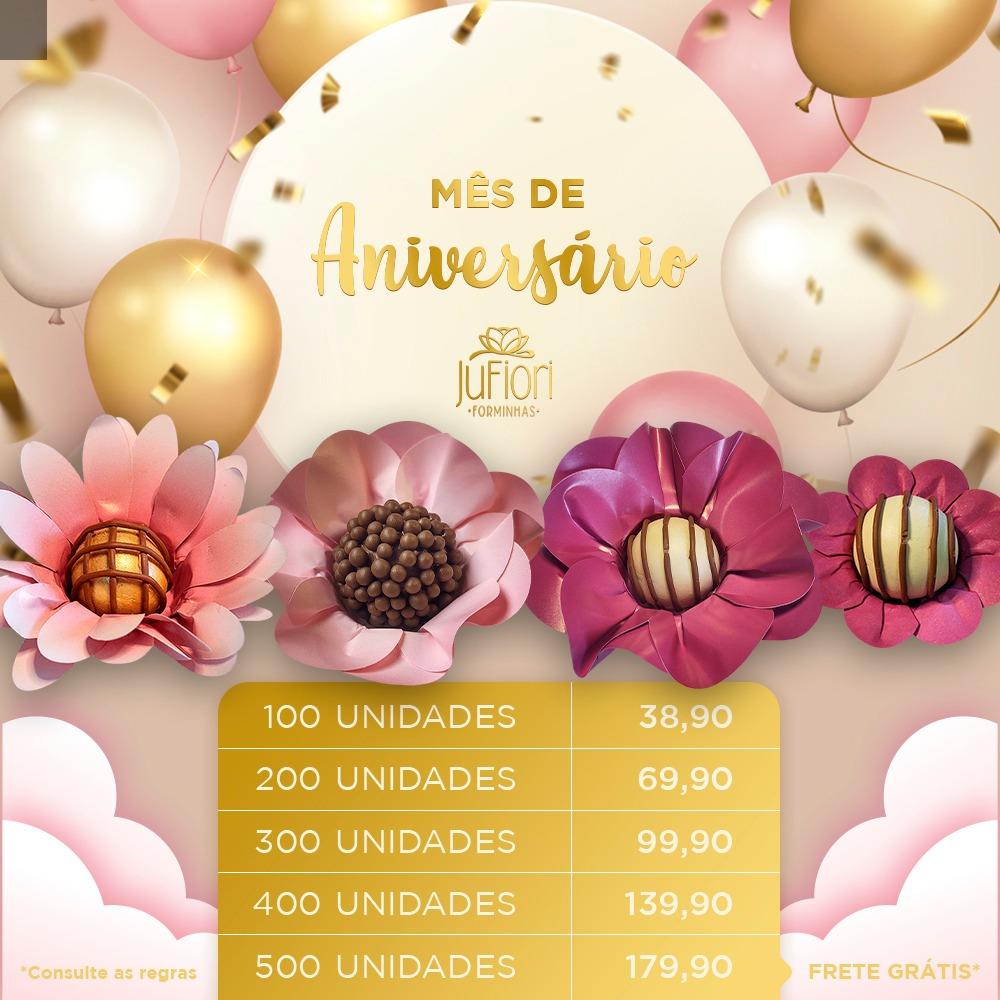 Forminhas para Doces Margaridinha Safira Peônia e Margarida 200 Unidades Aniversario Ju fiori