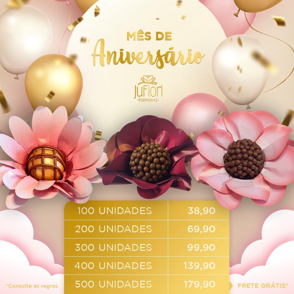 Forminhas para Doces Safira Peônia e Margarida 200 Unidades Aniversario Ju fiori