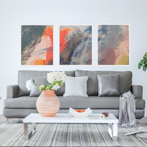Quadro Tela Abstrato Canvas Decorativo Trio Sala Quarto