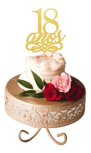 Topo De Bolo 18 Anos Aniversário Festa Decoração Dourado