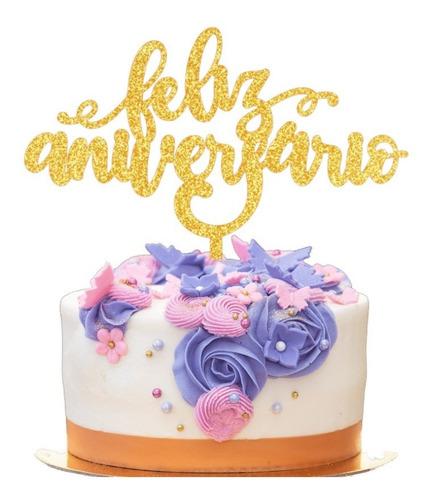 Topo De Bolo Decoração Festa Feliz Aniversário Dourado