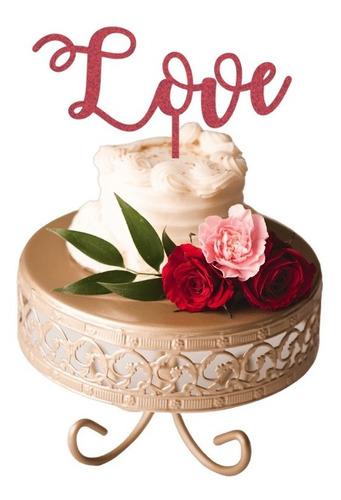 Topo De Bolo Love Decoração Casamento Noivado Vermelho