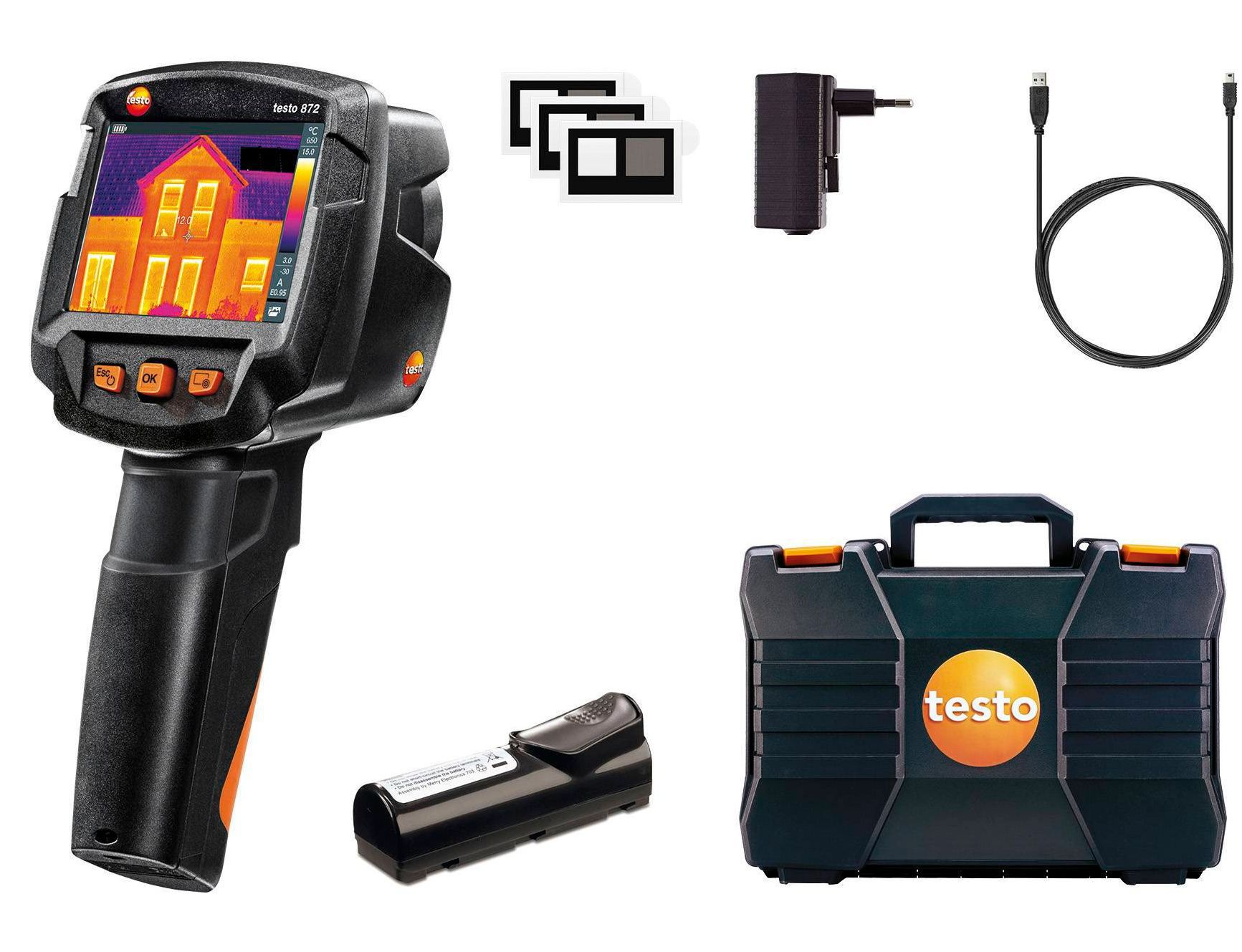 872 - Termovisor de -30º a + 650°C com câmera digital integrada, Resolução IR de 320 x 240 pixels