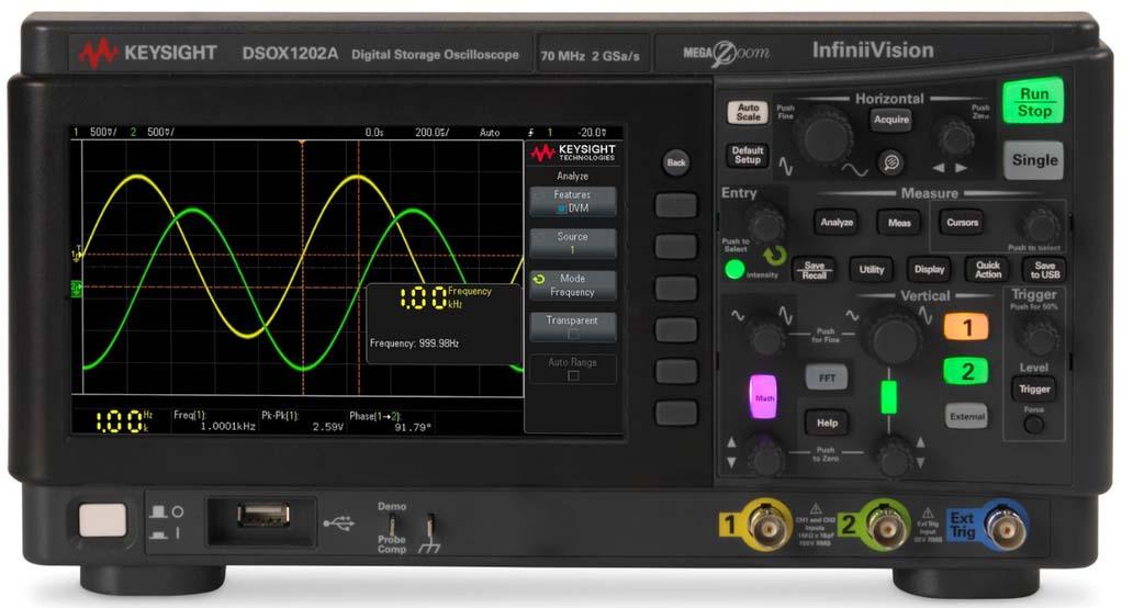 DSOX1202G - Osciloscópio Digital 70 MHz, 2 Canais com Gerador