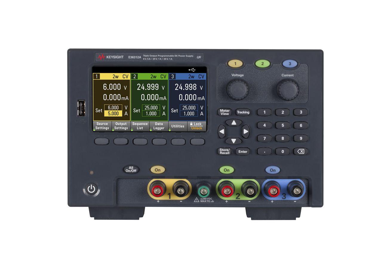 E36312A - Fonte de alimentação CC com 3 saída,  1x 6V 5A e 2x 25V 1A, 80 W