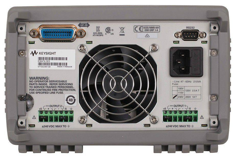 E3647A - Fonte de alimentação CC com 2 saídas 1x 35V 0,8A ou 1x 60V 0,5A, 60 W