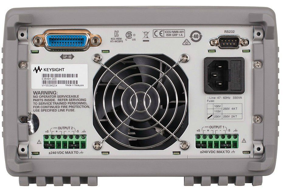 E3649A Fonte de alimentação CC:  Saída dupla 2x 35 V, 1,4 A ou 60 V, 0,8 A, 100 W