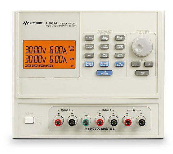 U8031A - Fonte de alimentação CC com 3 Saída, 2x 30V 6A e 1x 5V 3A, 375 W