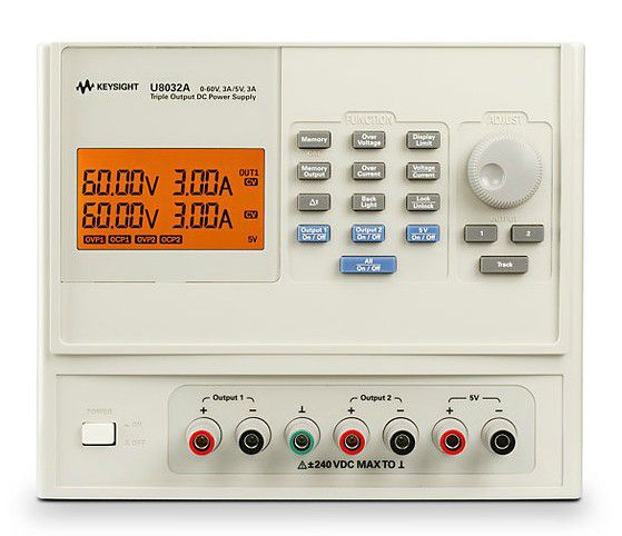 U8032A - Fonte de alimentação CC com 3 saídas, 2x 60V 3A e 1x 5V 3A, 375 W
