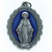 Medalha de Nossa Senhora das Graças - Prata e Azul - Grande