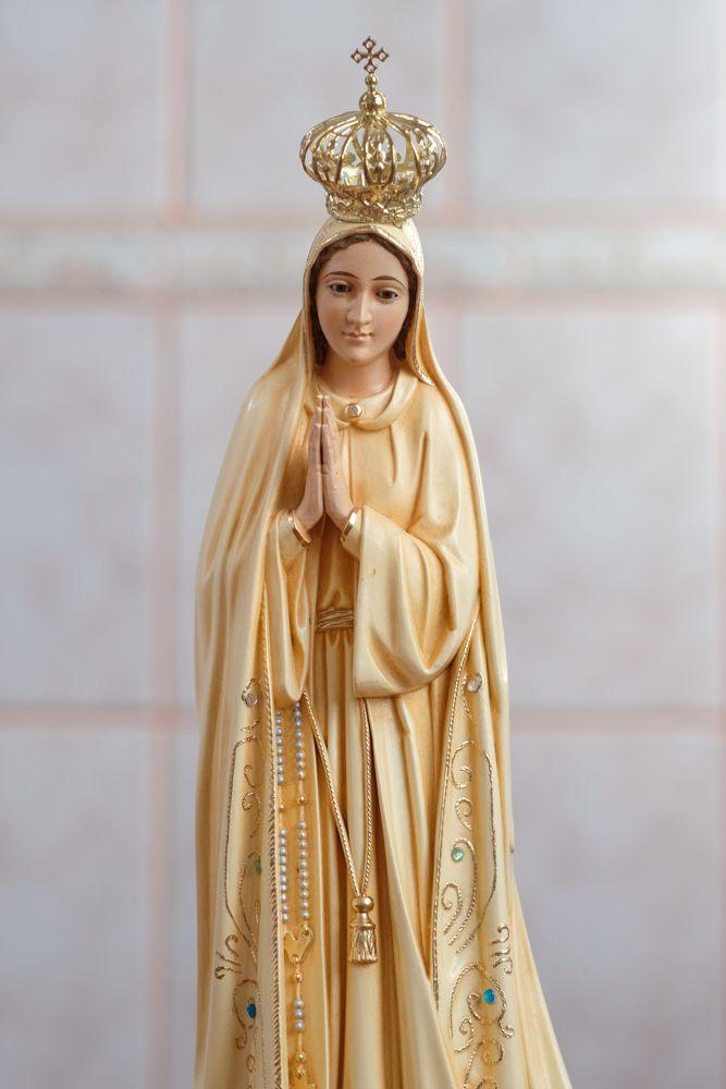 Imagem Nossa Senhora Fátima - 45cm - Envelhecida - Marfinite com olhos de vidro