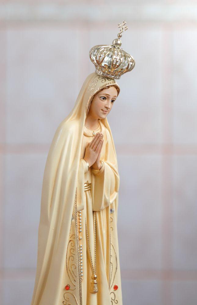 Imagem Nossa Senhora Fátima - 35cm - Envelhecida - Marfinite com olhos de vidro