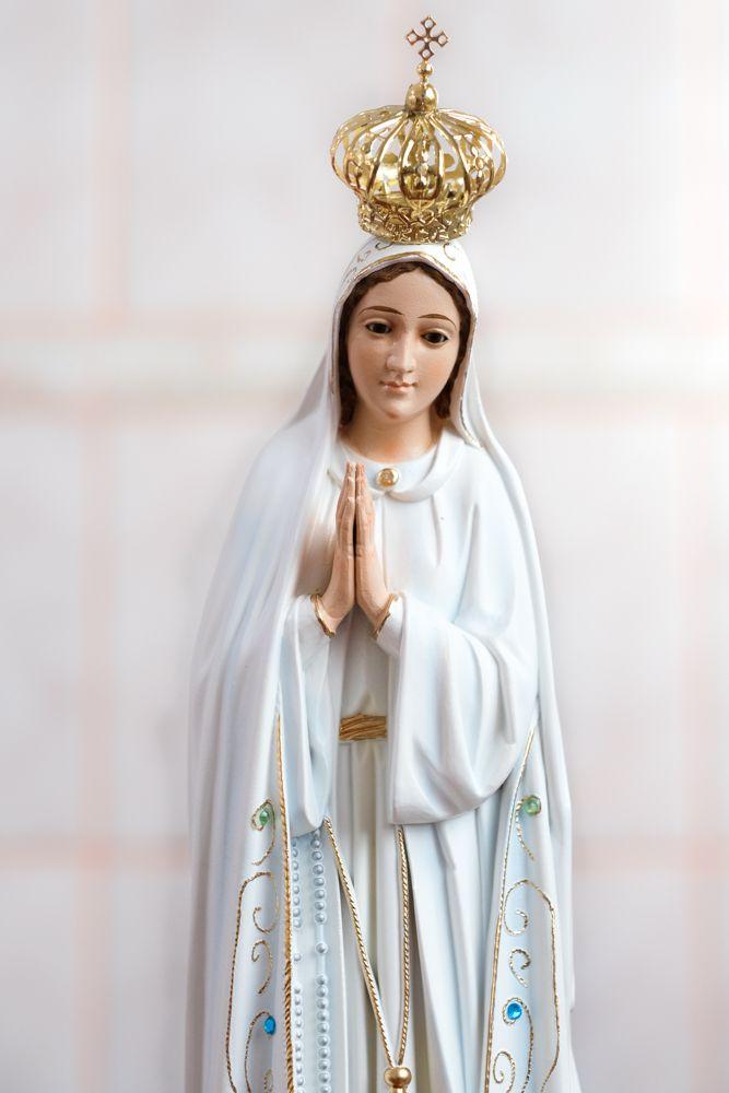 Imagem Nossa Senhora Fátima - 45cm - Marfinite com olhos de vidro