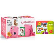 Kit Câmera Instantânea Instax Fujifilm Mini 9 Rosa Flamingo + Filme Fujifilm Instax 60 Fotos