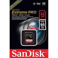 Cartão de Memória SanDisk 32GB Extreme Pro 95MB/s